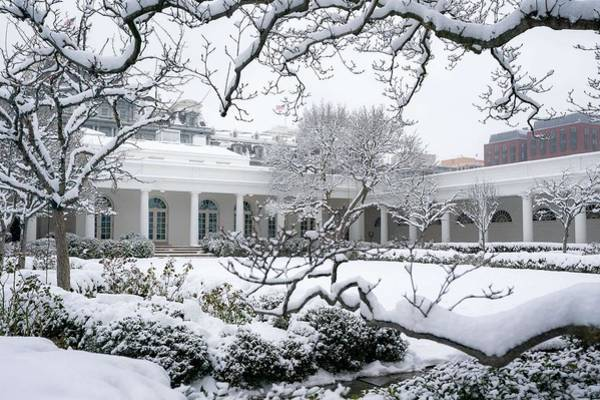 Wall Art - Painting - The White House Grounds Covered In Snow 14 by Celestial Images