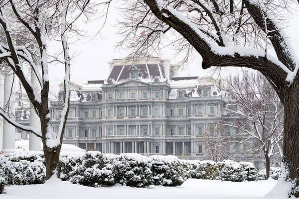 Wall Art - Painting - The White House Grounds Covered In Snow 17 by Celestial Images