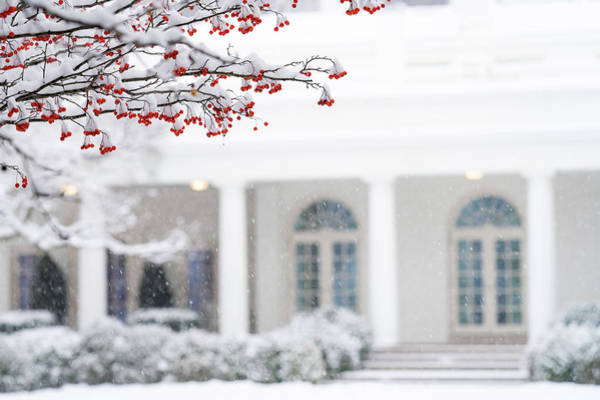 Wall Art - Painting - The White House Grounds Covered In Snow 5 by Celestial Images