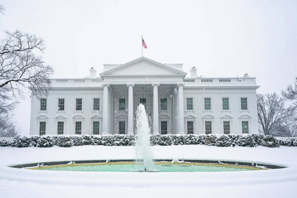 Wall Art - Painting - The White House Grounds Covered In Snow 9 by Celestial Images