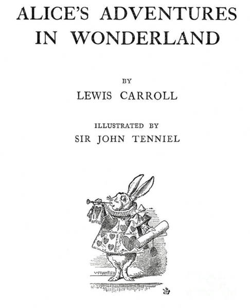 Alice Drawing - The White Rabbit On The Title Page Of Alice In Wonderland, by John Tenniel