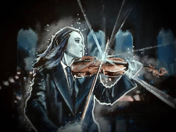 Painting - The White Violin by Joel Tesch