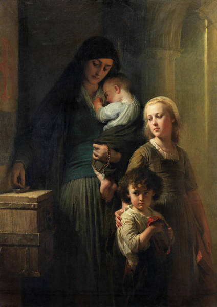 Wall Art - Painting - The Widow's Denier by Edouard Louis Dubufe