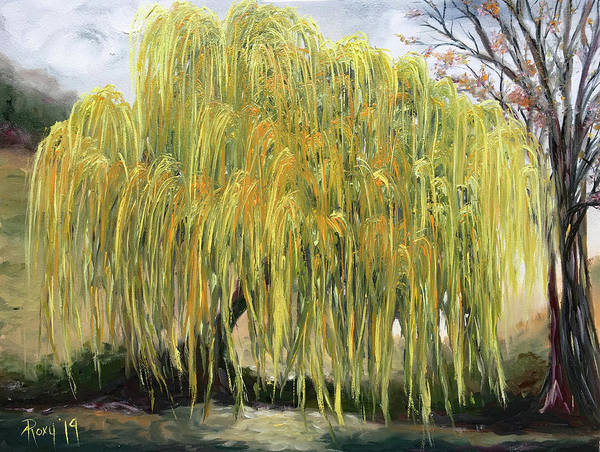 Landscape Painting - The Willow Tree by Roxy Rich