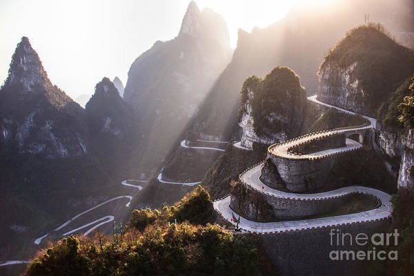 Cliffs Wall Art - Photograph - The Winding Road Of Tianmen Mountain by Kikujungboy