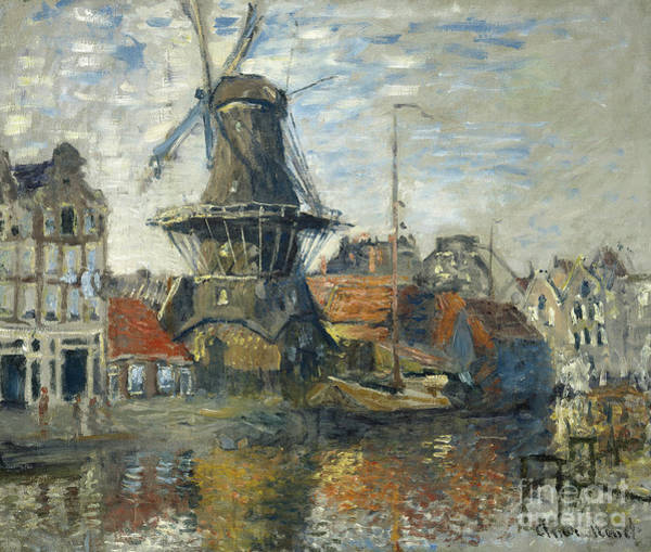 Amsterdam Painting - The Windmill, Amsterdam, 1871 by Claude Monet