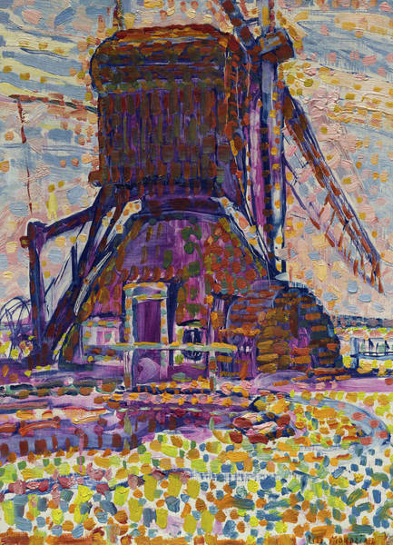 Wall Art - Painting - The Winkel Mill, Pointillist Version by Piet Mondrian
