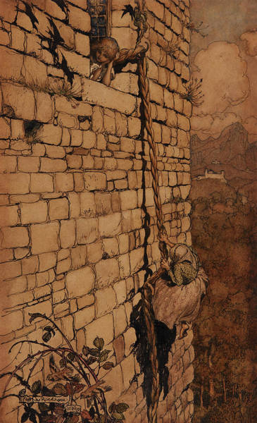 Prince Arthur Painting - The Witch Climbed Up, Rapunzel, Grimm's Fairy Tales, 1909 by Arthur Rackham
