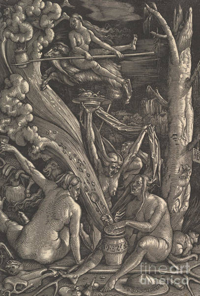 Wall Art - Drawing - The Witches, 1510 by Hans Baldung Grien