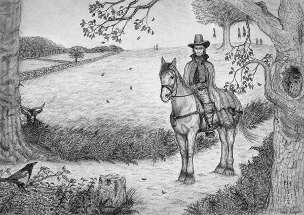 Magpies Drawing - The Witchfinder General by Philip Harvey