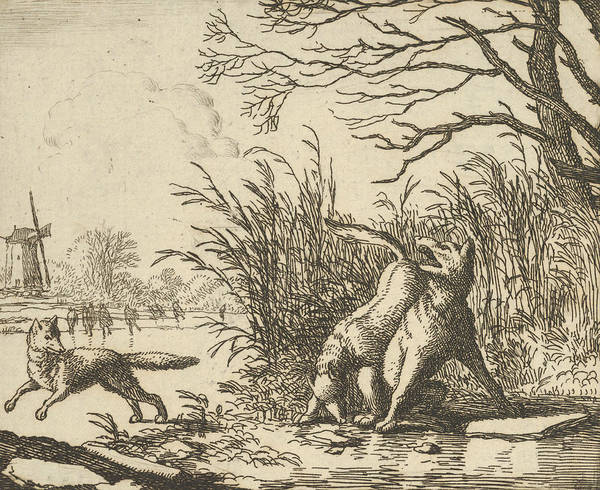 Wall Art - Relief - The Wolf Accuses Renard Once Again From Hendrick Van Alcmar's Renard The Fox by Allaert van Everdingen