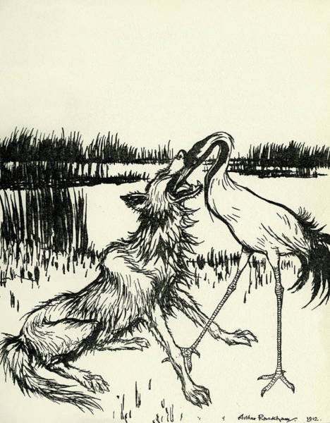 Wall Art - Painting - The Wolf And The Crane by Arthur Rackham