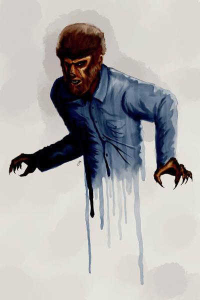 Digital Watercolor Digital Art - the Wolfman by Gary Cadima
