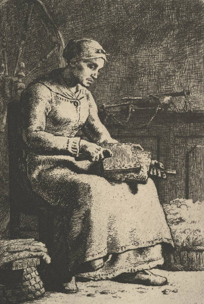 Relief - The Wool Carder by Jean-Francois Millet