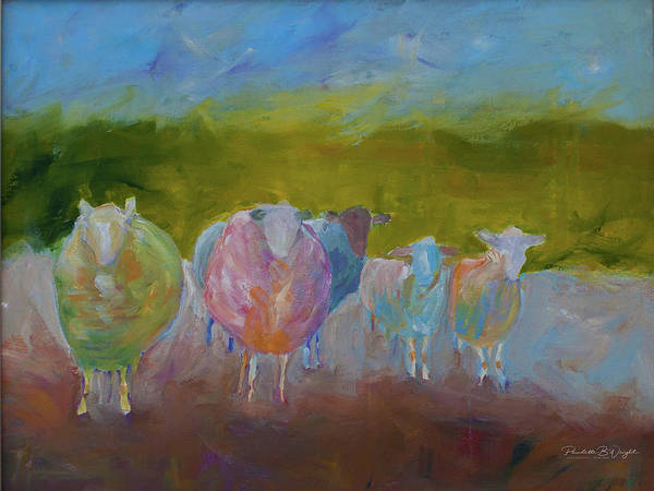Wall Art - Painting - The Woolly Boys Stand Their Ground by Paulette B Wright