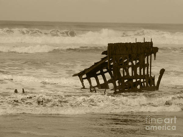 Oregon Coast Mixed Media - The Wreck Of The Peter Iredale 2 by Beverly Guilliams