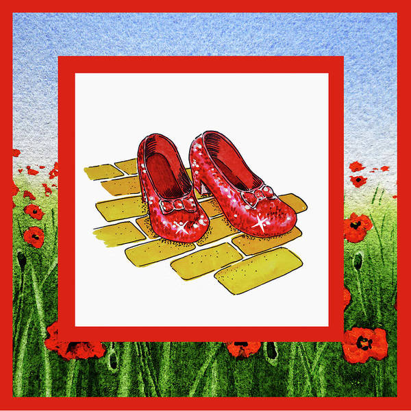 Yellow Brick Road Wall Art - Painting - The Yellow Brick Road Poppies Field And Ruby Slippers by Irina Sztukowski