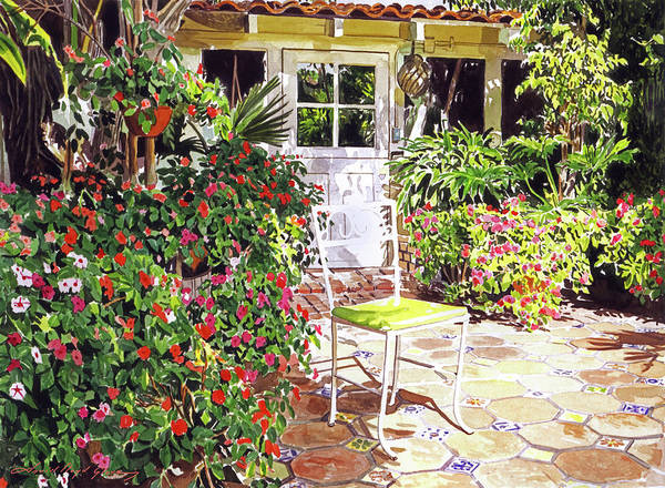 Painting - The Yellow Patio Chair by David Lloyd Glover