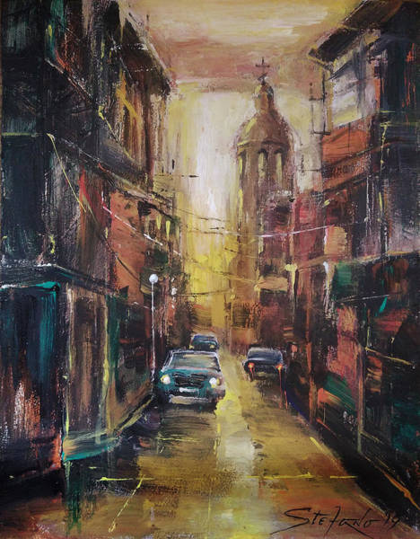 Painting - The Yellow Street by Stefano Popovski