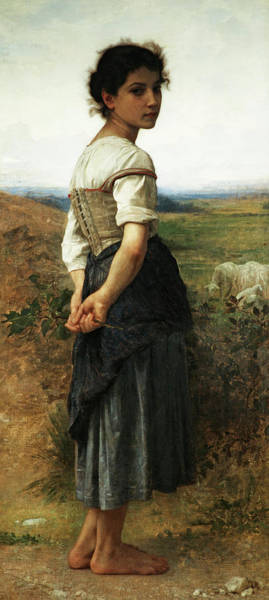 Rural Wall Art - Painting - The Young Shepherdess by William-Adolphe Bouguereau
