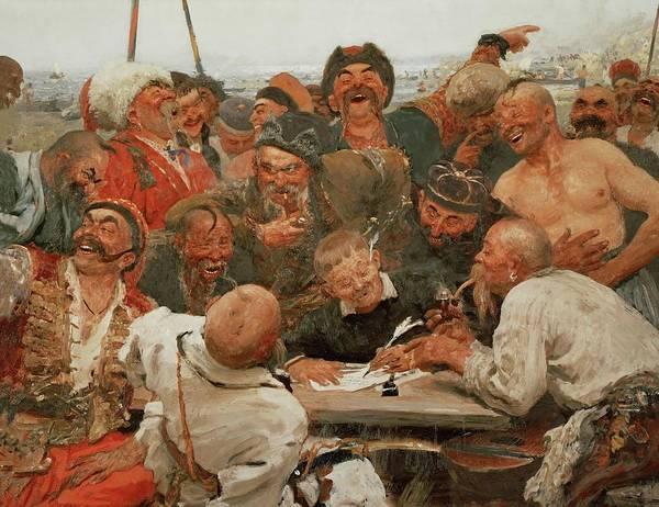 Tretyakov Gallery Painting - The Zaporozhye Cossacks Write A Mocking Letter To The Turkish Sultan. 1880-1881. by Ilya Yefimovitch Repin