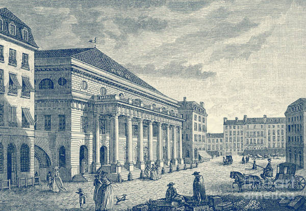 Wall Art - Drawing - Theattre De L Odeon, Paris Before Fire Of 1799 by French School