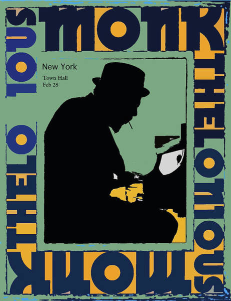 Babe Mixed Media - Thelonious Monk At Town Hall, New York Concert Poster, 1959 by Thomas Pollart