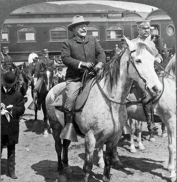 Painting - Theodore Roosevelt Preparing To Go Into Yellowstone National Park, 1903 by Celestial Images