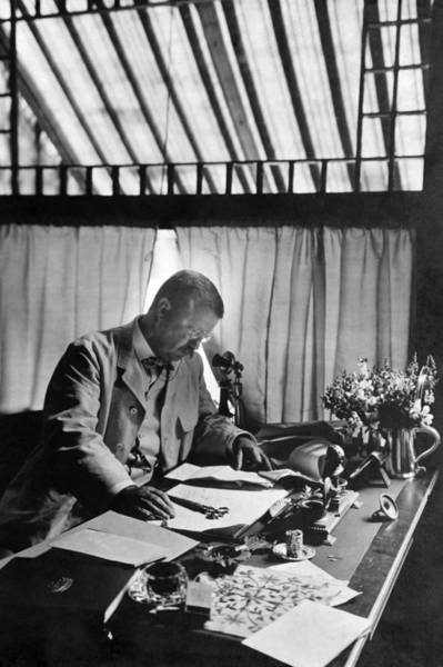 Sagamore Wall Art - Photograph - Theodore Roosevelt Working At Desk - Sagamore Hill - 1905 by War Is Hell Store