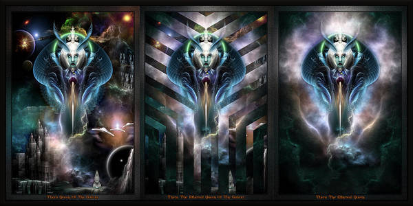 Digital Art - Thera Queen Trilogy Fractal Art Portraits Double Frame by Xzendor7