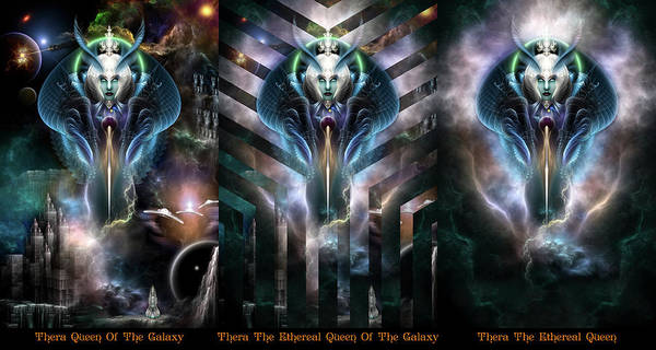 Digital Art - Thera Queen Trilogy Fractal Art Portraits by Xzendor7