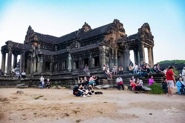 Wall Art - Photograph - They Come To See Angkor Wat, Cambodia by Madeline Ellis