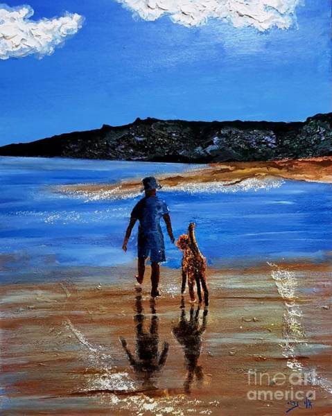 Wall Art - Painting -  They Walked Together On The Shores Of The Sea by Eli Gross