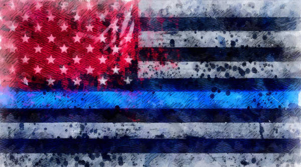 Wall Art - Painting - Thin Blue Line by Dan Sproul