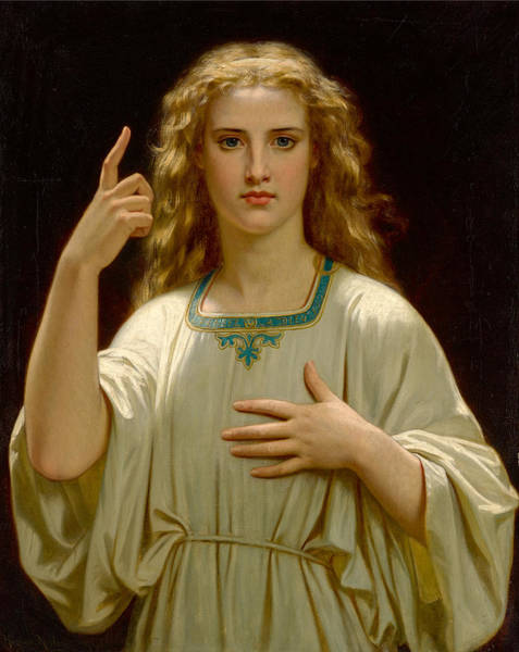 Painting - Think About God by Hugues Merle