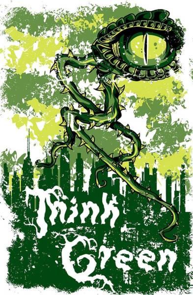Digital Art - Think Green Lizard Eye Monster by Passion Loft