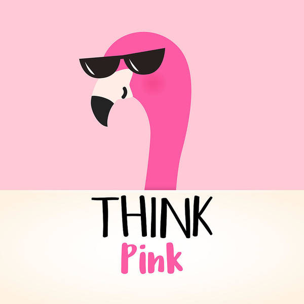 Digital Art - Think Pink - Baby Room Nursery Art Poster Print by Dadada Shop
