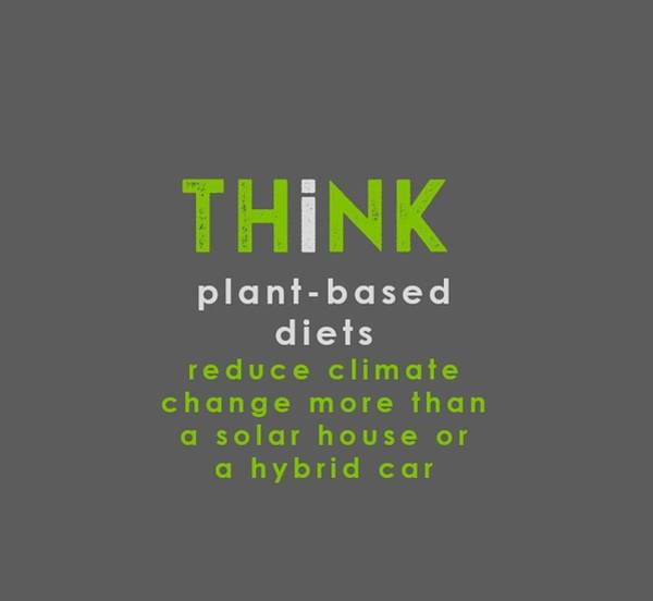 Drawing - Think Plant-based Diet - Green And Gray by Charlie Szoradi