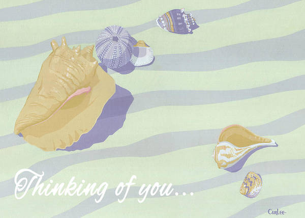 Wall Art - Painting - Thinking Of You Greeting Card - Beach Seashells by Walt Curlee