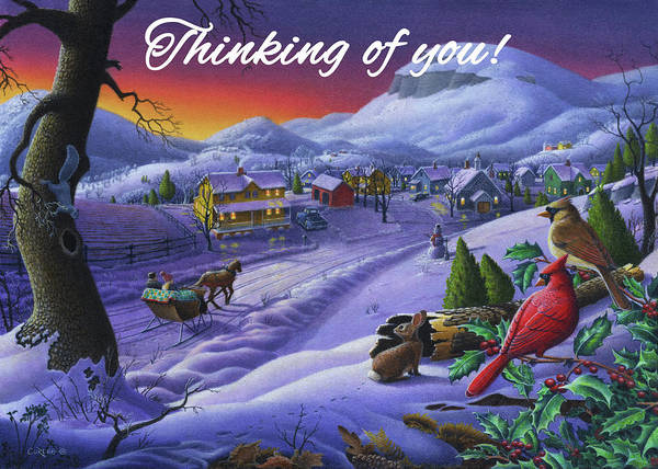 Wall Art - Painting - Thinking Of You Greeting Card - Cardinals Animals Sleigh Ride Winter Farm Landscape by Walt Curlee