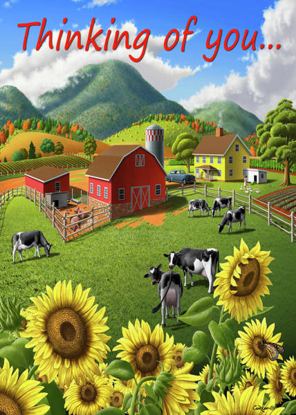 Wall Art - Digital Art - Thinking Of You Greeting Card - Sunflowers Cows Rural Farm Landscape by Walt Curlee