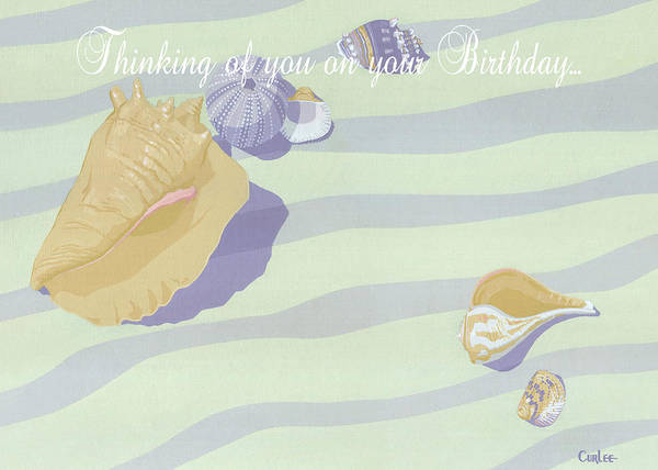 Wall Art - Painting - Thinking Of You On Your Birthday Greeting Card - Beach Seashells In The Surf by Walt Curlee