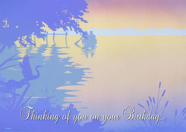 Wall Art - Painting - Thinking Of You On Your Birthday Greeting Card - Couple In Boat Rowing Back To Dock Tropical Sunset by Walt Curlee