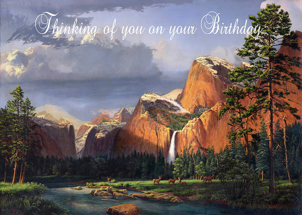 Wall Art - Painting - Thinking Of You On Your Birthday Greeting Card - Deer Mountain Waterfall Western Landscape by Walt Curlee