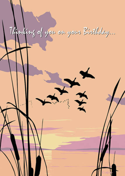 Wall Art - Painting - Thinking Of You On Your Birthday Greeting Card - Ducks Flying At Sunset by Walt Curlee