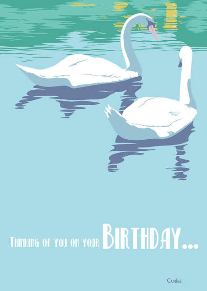 Wall Art - Painting - Thinking Of You On Your Birthday Greeting Card - Two Swans On Lake by Walt Curlee