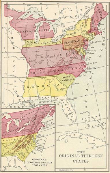 Usa Map Photograph - Thirteen States by Archive Photos