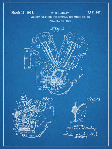 Wall Art - Drawing - This 1936 Harley Davidson Knucklehead Blueprint Patent Print by Greg Edwards