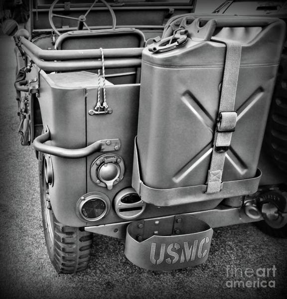 Wall Art - Photograph - This Jeep Belongs To A Us Marine Black And White by Paul Ward