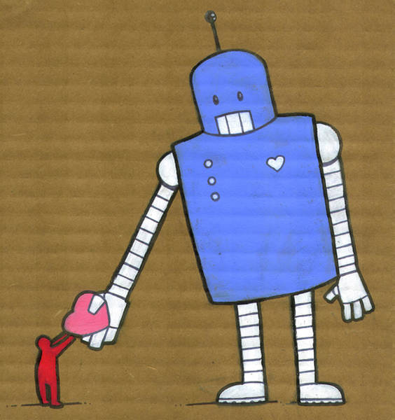 Standing Digital Art - This Robot Has Heart by All Images © Tyler Garrison, 2009.